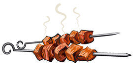 Meat kebab grilled. Veal, pork, mutton, steaks on skewers, picnic with grilled meal Stock Photo