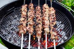Meat kebab skewers Royalty Free Stock Photography