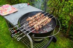 Meat kebab skewers Stock Photo