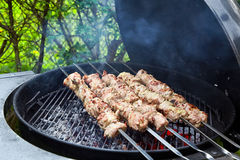 Meat kebab skewers Royalty Free Stock Images