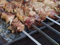Meat kebab on skewers Stock Photo