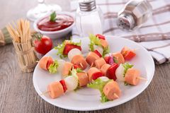 Meat kebab and vegetable Stock Image