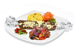 Meat kebab with vegetables. Minced meat kebab with grilled vegetable Stock Photo