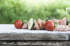 Meat kebabs raw for grill Stock Images