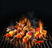 Meat kebabs with vegetables on flaming grill Royalty Free Stock Images