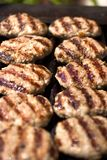 Meat keftes on grill. Meat steaks on a grill Stock Photo
