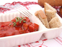 Meat with ketchup. Some fresh meat with ketchup Royalty Free Stock Images