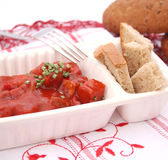 Meat with ketchup. Some fresh meat with ketchup Stock Photos
