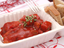 Meat with ketchup. Some fresh meat with ketchup Royalty Free Stock Photo