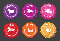 Meat Labels with Cartoon Animals Royalty Free Stock Image