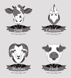 Meat labels collection. Four types of meat - beef, chicken, pork and mutton. Illustrations of the animals Royalty Free Stock Images