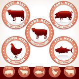 Meat Labels. Pork, Beef, Chicken, Lamb, Tuna. Retro Meat Labels. Label with Illustrations of Pork, Beef, Chicken, Lamb and Tuna. Vector Set Stock Image