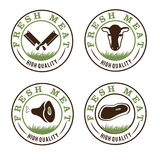 Meat labels set. Fresh meat labels set beef Royalty Free Stock Image