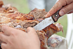 Meat lamb culinary cut by knife Royalty Free Stock Photography