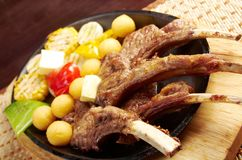 Meat lamb on rib Stock Images
