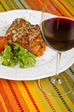Meat Lasagna And Red Wine 1 Royalty Free Stock Image