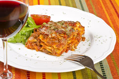 Meat Lasagna And Red Wine 2 Royalty Free Stock Photography