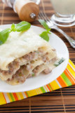 Meat lasagna with sauce bechamel Royalty Free Stock Images