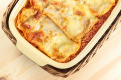 Lasagne from above Royalty Free Stock Photography