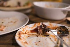 Meat that is left on the plate is different food scraps. Royalty Free Stock Photo