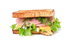 Meat, lettuce and cheese sandwich Stock Photography
