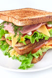 Meat, lettuce and cheese sandwich Stock Images