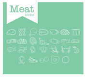 Meat Line Icon On Green Background. Stock Photography