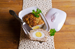 Meat Loaf with boiled egg Stock Images