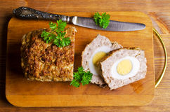 Meat Loaf with boiled egg Stock Photography