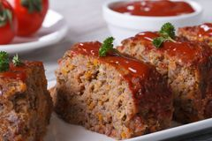 Meat Loaf Closeup sliced on a plate, horizontal Stock Photos