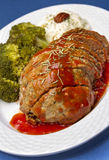 Meat Loaf Dish. With veggies, red sauce and mashed potatoes stock photo