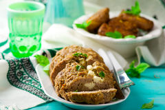 Meat loaf with feta Stock Photos