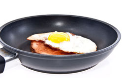 Meat loaf and fried egg in a skillet Royalty Free Stock Images