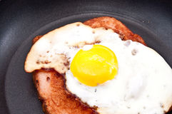Meat loaf and fried egg in a skillet Stock Images