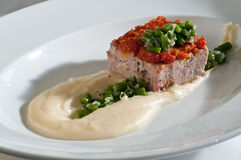 Meat loaf with green beans Stock Photography