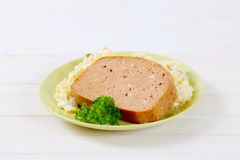 Meat loaf with potato salad Stock Image