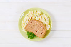 Meat loaf with potato salad Royalty Free Stock Photography