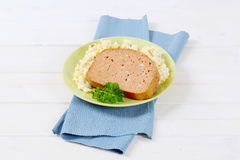 Meat loaf with potato salad Royalty Free Stock Photos