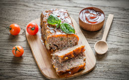 Meat Loaf With Barbecue Sauce On The Wooden Board Stock Images