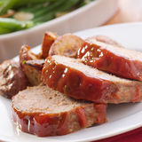 Meat Loaf With Roasted Herb Potatoes Stock Image