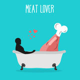 Meat lovers. Love for ham. Pork and man in bath. Man and gammon Royalty Free Stock Images