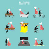 Meat lovers set. Love to collection of ham. Man and ham in movie Royalty Free Stock Photos