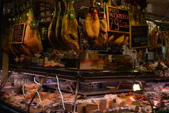Meat market in Barcelona. March 2017 Royalty Free Stock Image