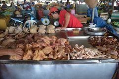Meat market in Can Tho Vietnam. Vietnam - Mekong Delta- cruise along the Mekong river - Mekong River Industries - various cuts of meat for sale at a food market Royalty Free Stock Photography