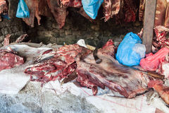Meat market Namche Bazaar. Trekking around Namche Bazaar and views to Everest Sagamatha national Park Nepal Royalty Free Stock Images