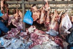Meat market Namche Bazaar. Trekking around Namche Bazaar and views to Everest Sagamatha national Park Nepal Royalty Free Stock Photo