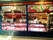 Meat market stand. Selling specialties inside great market hall in Budapest stock image