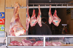 Meat on the market in Taroudant, Morocco. Taroudant, Morocco - March 22, 2016: Meat on the market. Traditional slaughterhouse on one of most known markets in Stock Photos