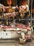 Meat Market in Tibet Royalty Free Stock Photography