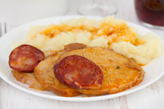 Meat with mashed potato Stock Photos